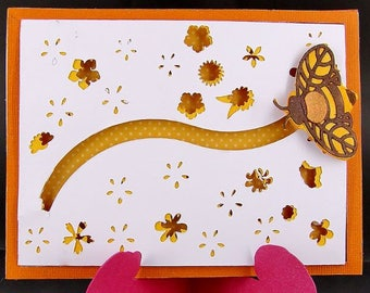 Slider Bee Card, Honey Bee Card, Interactive Bee Card, Handmade Interactive Card, Spinner Card