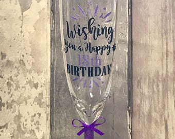 Personalised Happy 18th Birthday Glitter Champagne Glass, gifts for her, 21st, 30th, 40th, 50th, 60th, Ombre hlutter effect