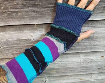 Upcycled Sweater Striped Arm Warmers, Texting Gloves