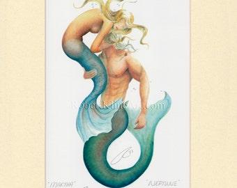 "Mermaid & Merman Neptune Merfolk Couple Art Signed Robert Kline 5"" x 7"" Matted Print Nautical Gift Beach House Home Boat Fantasy Wall Decor"