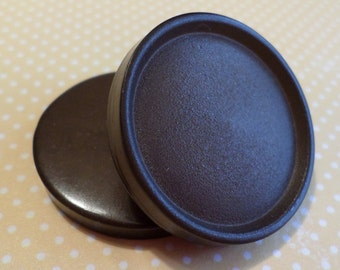 2 Big Dark Brown Vintage Buttons 1 3/8 Inch Coat Buttons
