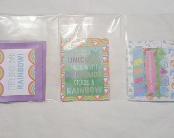 Séjour magiques cartes vierges, licornes, cartes de voeux, arc en ciel, diamants, cartes,