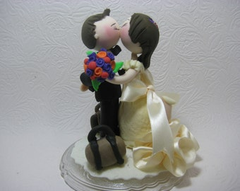 Custom wedding cake topper, traveler cake topper