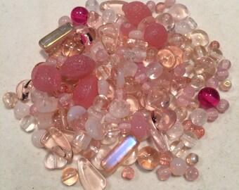 Czech Glass Bead Mix, Pink Mix, 00006, 50 Grams