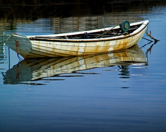 "Anchored Boat, Calm Water, Peggy's Cove, Atlantic Harbor, Nova Scotia, Canada, Fine Art, Seascape, Boat Photograph, ""Anchored Boat"""