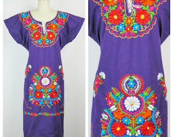 Vintage 1980s Dress / Purple 80s Embroidered Mexican Peasant Dress / One Size
