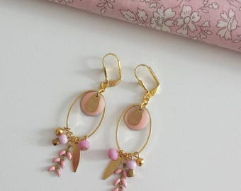 """Earrings """"Chic in winter"""" pink and gold"""