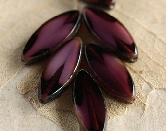 JUICY PLUM PETALS .. 6 Picasso Czech Glass Spindle Beads 17x8mm (4340-6)
