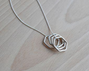 Orbit Hexagon Necklace | Sterling Silver Hexagon Necklace | Minimalist Pendant Necklace | Silver Hexagon Necklace