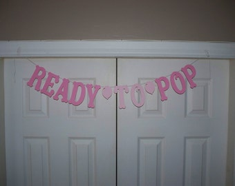 READY TO POP Balloon Letter Banner - Baby Pink & Pale Pink - Garland - Baby Shower - Wall Decor - Door Decor