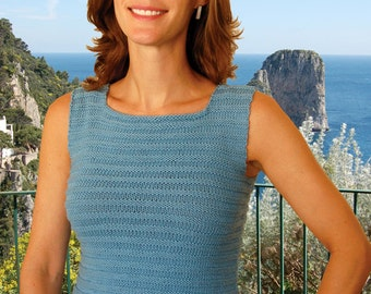 Square Neck Tank Top to Knit PDF Pattern Instant Download