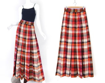 Vintage 70s High Waisted Pleated Plaid Maxi Skirt - Size 6 - Autumnal Orange and Brown Tartan Long Box Pleat Womens Skirt - 27 Waist