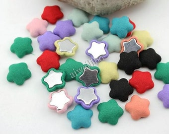 50 pcs Mixed Color Fabric Buttons, Covered Buttons, Star Cloth Button, Flat Back Buttons