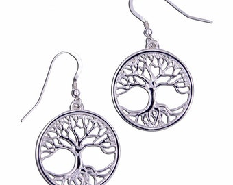 Silver Tree of life earrings  - Hand Made in UK