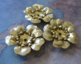 2 PC 3 Layer Riveted Large Brass Flower - OO04