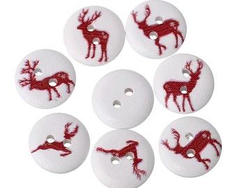 20 Wood Sewing/Scrapbook Reindeer Buttons 2Hole 15mm (B52k)