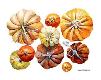 Pumpkins, squash, illustration, graphics print, Poster, Wall art, Art print, Gift, Home Decor, Digital Print, INSTANT DOWNLOAD.