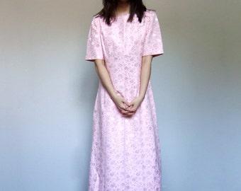 Pastel Pink Dress Floral Print Party Dress Metallic Maxi Dress - Medium Large M L
