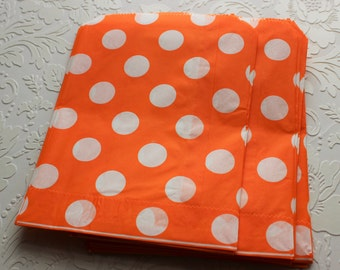 Orange Polka Dot Paper Bag- Gift Bag, Party Favor, Party Supply, Shop Supply, Treat Bag, Merchandise Bags