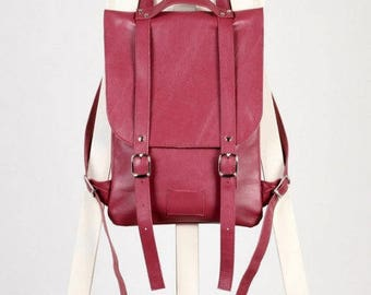 SALE! / Сrimson leather backpack rucksack / In stock / Leather backpack / Leather rucksack / Womens backpack / Gift