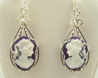 WSE-0028 Charming Lady Cameo Earring Wire Wrapped in Sterling Silver Wire