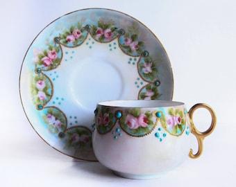 Elite Works S M Limoges Tea Cup w/ Saucer ~ Limoges France Hand Painted ~ Pink, Blue, Green & Gold ~ Pink Roses ~ Victorian Edwardian Style
