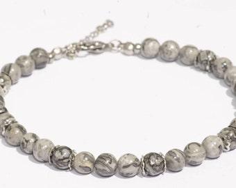 Ankle bracelet anklet/Beach/steel jewellery jewelry/landscape Jasper stone stainless
