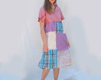 Handmade, Pink Lilac Upcycled Clothing, Patchwork Dress, Funky, Repurposed Men's shirts,  Boho, Wearable Art, Long Dress, Resplendent Rags