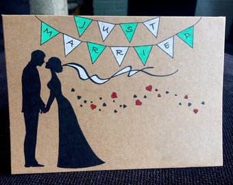 Handmade Bride and Groom Card - Unique Wedding Card - Bunting & Love Hearts