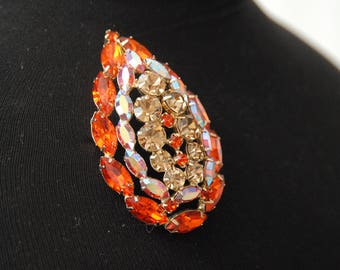Lg Juliana Brooch, Orange Brooch, Rhinestone Brooch, Free Ship