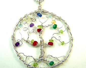 Gemstone birthstone  Family Tree necklace pendant faceted - Tree of Life - mother grandmother - personalized gift genealogy one of a kind