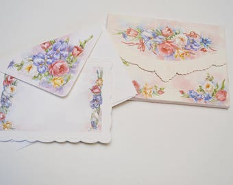 vintage stationery set: embossed floral rose paper and matching envelopes by Cheryl Smith, Carol Wilson Fine Arts