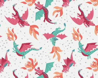 Dragon Fabric, Fire breathing Dragons on White, from Lewis & Irene LTD, yard