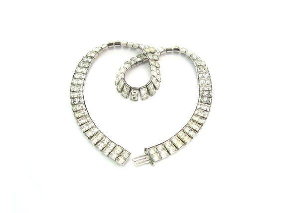 Vintage Art Deco Rhinestone Necklace Channel Set Princess Cut Crystals