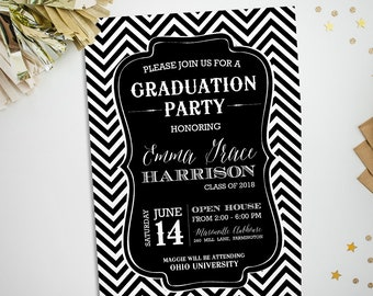 Chevron graduation party invitation, in any color, printable graduation open house invite, class of 2018