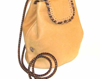 Camel Beige Italian Leather Drawstring Mini Bucket Bag