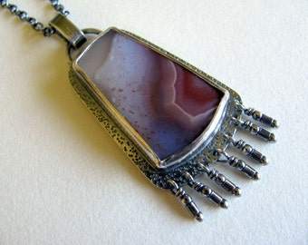Sterling Silver Agate Pendant Necklace, Coyamito Agate, Silver Fringe Pendant, Handmade Purple Pendant