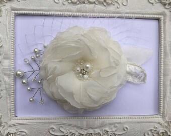 Wedding hair clip bridal flower, ivory wedding Eda hairstyle