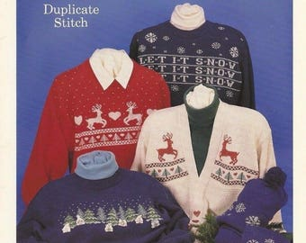 Winter Wonderland Duplicate Stitch Patterns for Knits by Sue Hill Designs Vintage 1992
