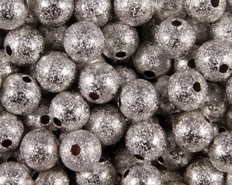 50 pearls silver stardust 6mm round