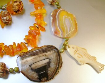 Boho Mixed Media Necklace With  Honey Amber, Quartz, Bone and Jasper.  Matching Earrings