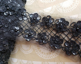 """Black Sequin Net Lace Trim - Sewing Costume Embellishment Trimming - 2 1/4"""" Wide - 3 Yards"""