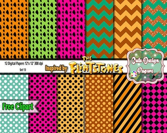 The Flintstones Digital Papers 12x12, for Printables party, sticker, scrap books