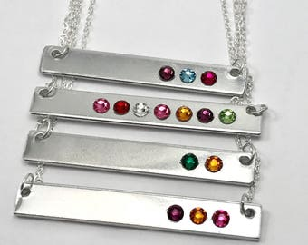 Mothers Day Jewelry, Birthstone Bar Necklace, Mothers birthstone necklace, Gift for mom, Personalized Horizontal Bar Necklace for mom gift