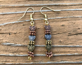 Tri-Colored Celtic Heart Earrings