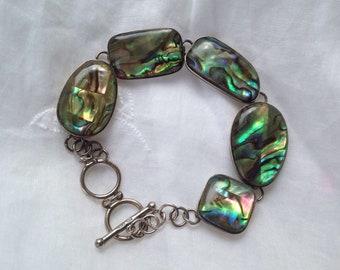 Sterling and abalone link bracelet