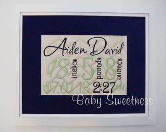 First Time Parent Gift - Framed Birth Announcement - Embroidered Subway Art - Chevron Nursery - 8X10 Canvas - NewBorn Keepsake Art Gift