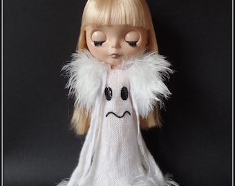 """PDF knitting pattern for Ghost dress and fluffy stole for 12"""" Blythe"""