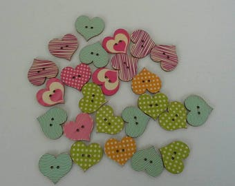 24 Heart Shaped Painted Wood Buttons N0038 Wooden Scrap Booking Cards