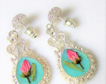 Pink Flower Buds on Light Teal, ,  Post  Filigree Earrings,  Real Flower Earrings, Pressed Flower Jewelry,  Resin (3092)